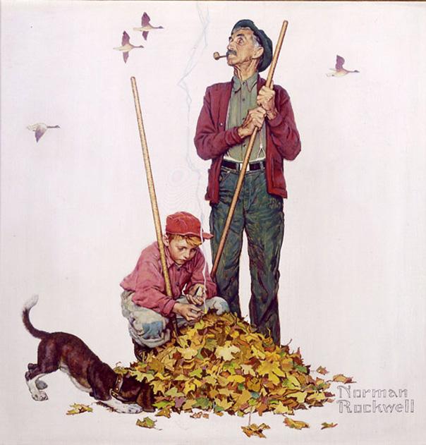 Norman Rockwell: Grandpa and Me Raking Leaves